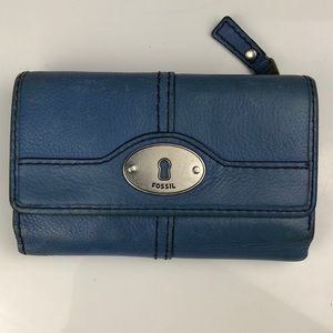 Fossil Blue Leather Wallet with 16+ Card Slots